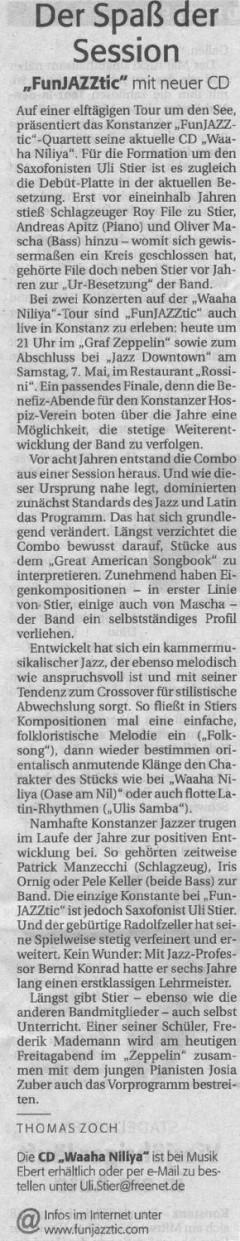 Kritik im Suedkurier der 1. Funjazztic CD