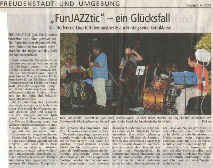 7.6. o5  Ein Bodenseequartett demonstriert beim Schwarzwaldmusikfestival in Freudenstadt seine Extraklasse
