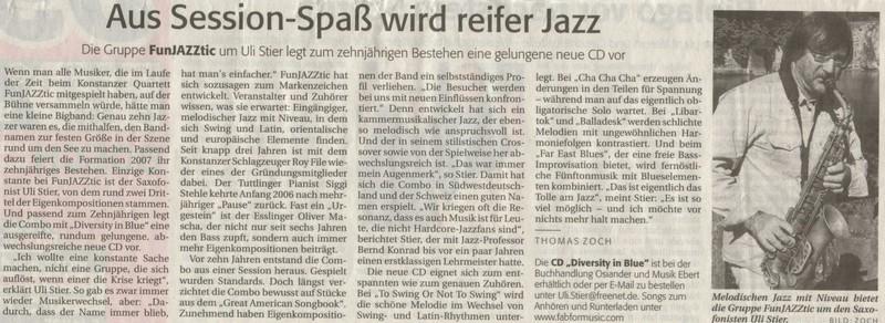 10 Jahre..                 Konstanzer Quartett Funjazztic: Neue 2. CD mit Eigenkompositionen