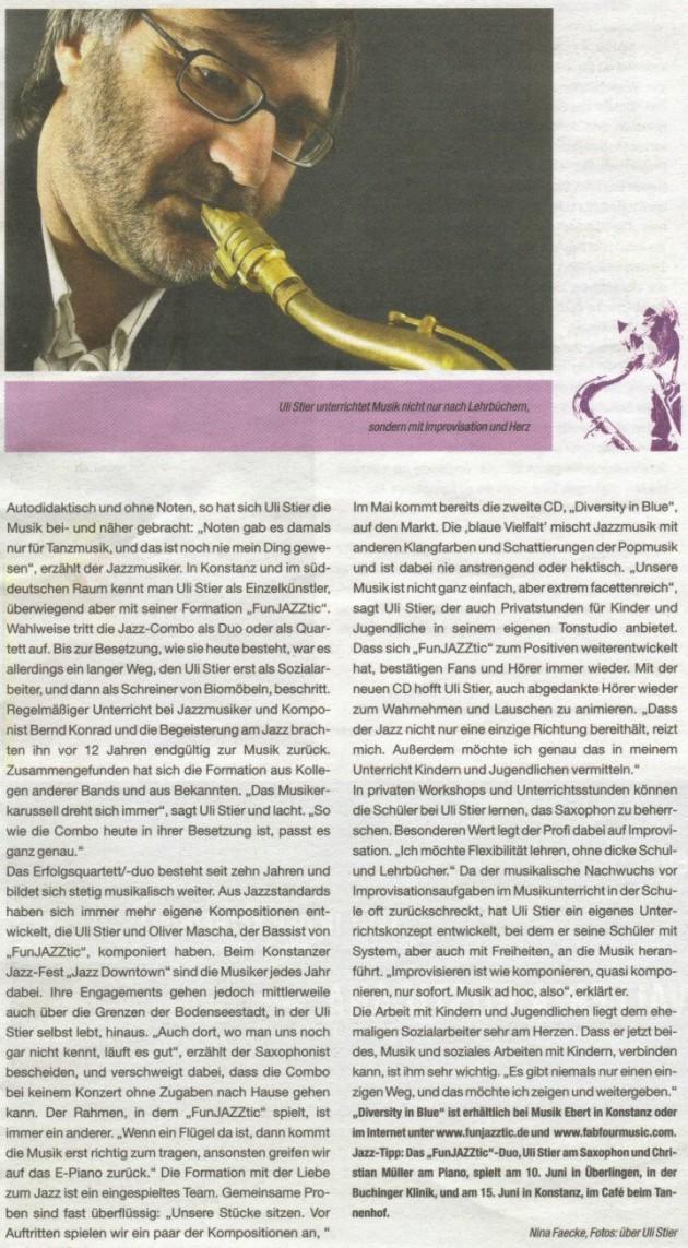 Presseportrait im QLT- Blatt Konstanz