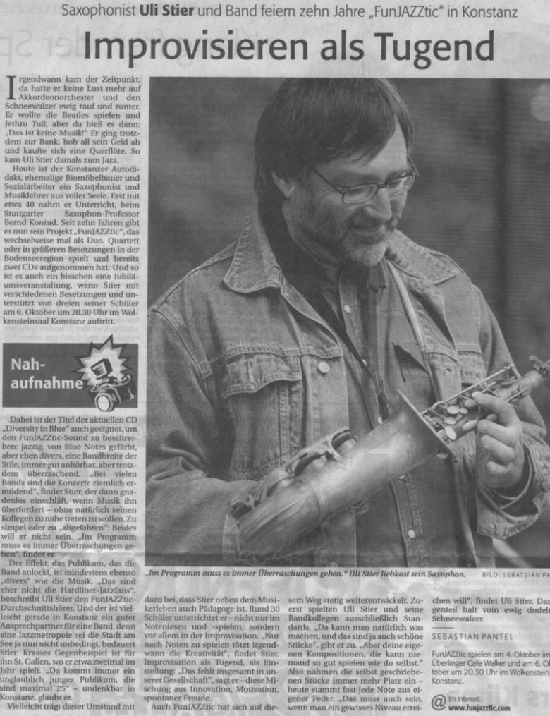 Saxophonist feiert mit seiner Band 10 Jahre FunJAZZtic