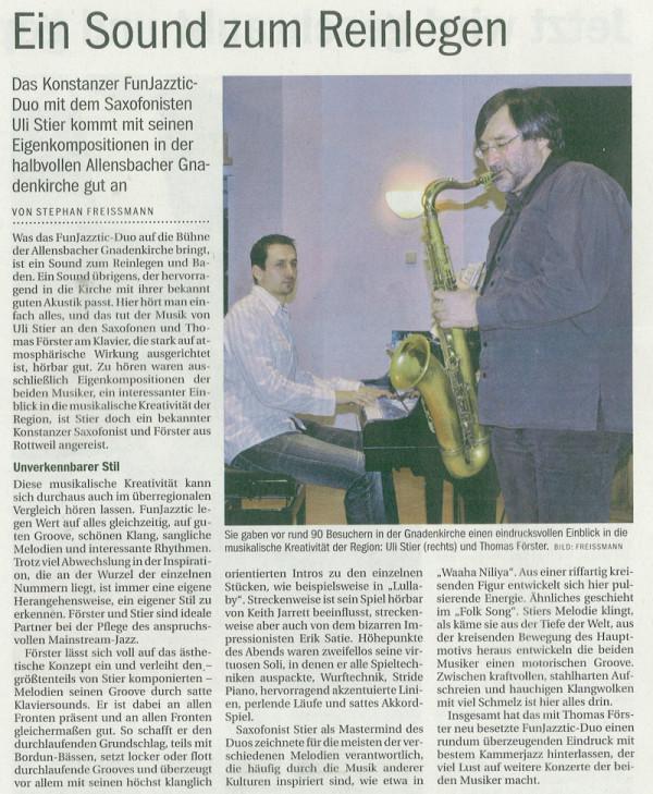 Aus der Tiefe der Welt: Uli Stier und Thomas Förster in der Gnadenkirche Allensbach