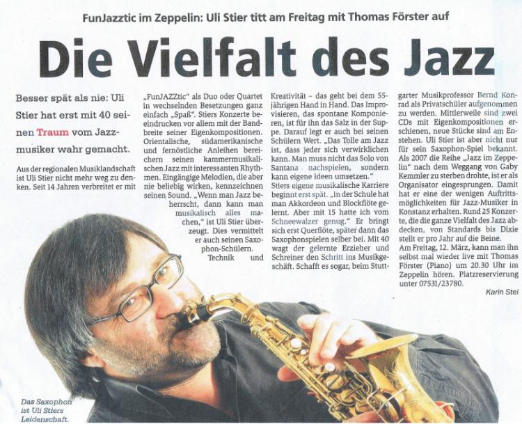 Portrait im Konstanzer Anzeiger:  Jazzmusiker Uli Stier: Die Vielfalt des Jazz