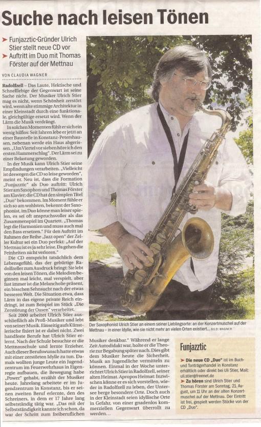 Zeller Kultur in der alten Konzertmuschel:  Jazzer Uli Stier gemeinsam mit Thomas Förster auf der Suche nach leisen Tönen